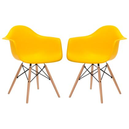 """EdgeMod Vortex Collection 24.2"""" Set of 2 Arm Chairs with Beech Wood Tapered Legs, Wire Base, Non-Marking Feet and Polypropylene Plastic Seat in"""
