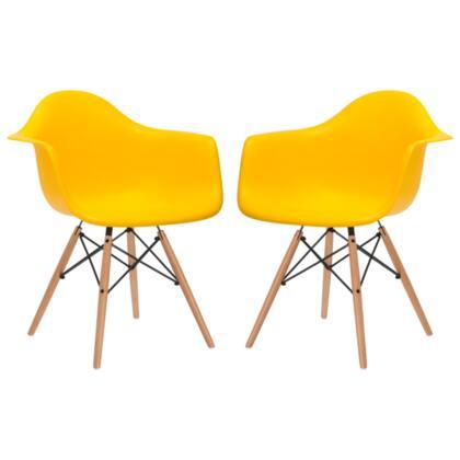 EdgeMod EM110NATYELX2 Vortex Series Modern Wood Frame Dining Room Chair