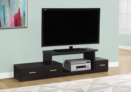 """Monarch I 267X 72"""" TV Stand with Open Concept Storage, Asymmetrical Design and Three Drawers"""