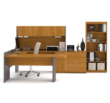 Bestar Furniture 52950 Executive U-shaped workstation with lateral file and bookcase