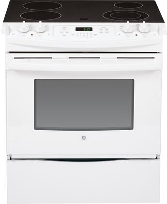 """GE JS630DFWW 30"""" Slide-in Electric Range with Smoothtop Cooktop, 4.4 cu. ft. Primary Oven Capacity, Storage in White"""