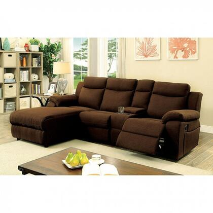 """Furniture of America Kamryn Collection CM6771XX-SECTIONAL 101"""" 2-Piece Reclining Sectional with Left Arm Facing Chaise and Right Arm Facing Console Loveseat in"""