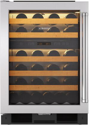 "Sub-Zero 424G/X 24"" Star K Rated Undercounter Wine Storage with 46 Wine Bottle Capacity, Two Independent Temperature Zones, UV-Resistant Glass Door, and Discreet Interior Light"