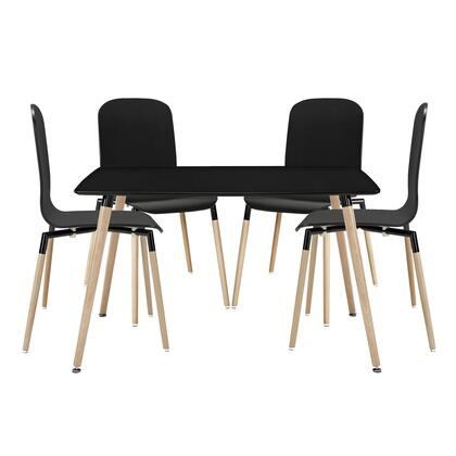 Modway EEI-1375 Stack Wood Dining 5 Piece Set with One Table and Four Chairs, Modern Design, Steel Tube Frame, Solid Beech Wood and Foot Caps