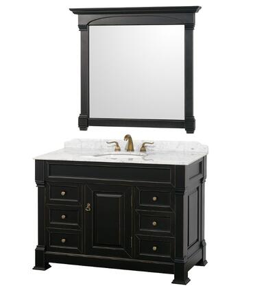 Wyndham Collection WCVTS48 Single Vanity Set with Oak Hardwood, Porcelain Undermount Sink, Faucet Hole Mount, Backsplash, 1 Door, 6 Drawers & Matching Mirror in