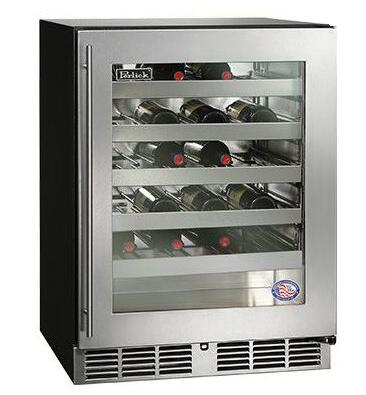 "Perlick HA24WB 24"", 4.8 cu. ft., 40 Bottle Capacity, ADA Compliant, Single Zone, Built-In Counter Depth, Stainless Steel Interior Wine Reserve with"