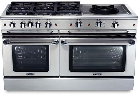"""Capital GSCR606WN 60"""" PRECISION Series Gas Freestanding Range with Sealed Burner Cooktop, 4.6 cu. ft. Primary Oven Capacity, in Stainless Steel"""