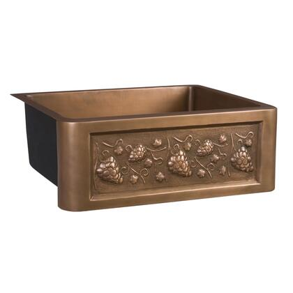 Barclay FSCSB30SAC Concord Collection 16 Gauge Copper Farmer Sink With Grapevine Design, Rounded Interior Corners, Angled Bottom and Hand Polished in Smooth Antique Copper