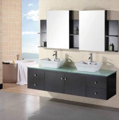 """Design Element DEC071 Portland 72"""" Double Sink Vanity Set in"""