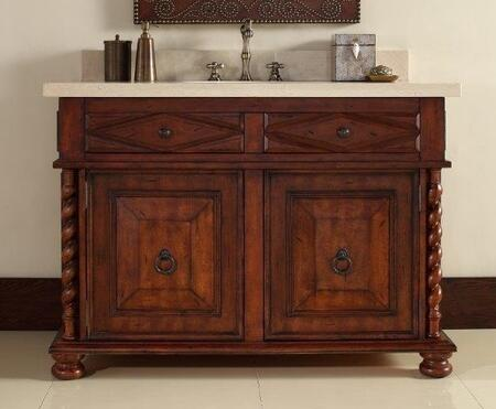 "James Martin Continental 48"" Single Vanity with 2 Doors, 2 Drawers, 1 Sink Included, Antique Brass Hardware, Marble Top, Cherry and Birch Materials in Burnished Cherry Finish"