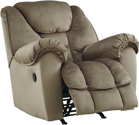 """Benchcraft 36601 Jodoca 44"""" Rocker Recliner with Pillow Top Arms, Piped Stitching, Metal Frame and Fabric Upholstery in Driftwood Color"""