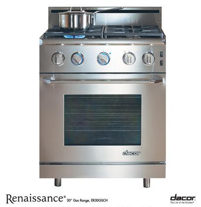 """Dacor Renaissance ER30GIS 30"""" Freestanding Range with High Altitude, 4.0 cu. ft. Convection Oven, 4 Burners, Chrome Trim, 1.75"""" Backguard and Island Trim Kit: Stainless Steel"""