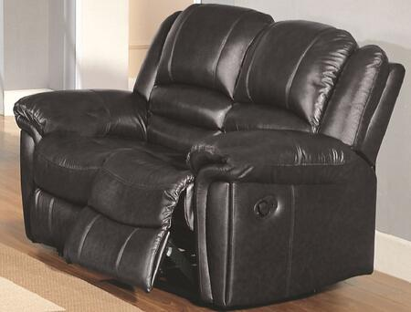 Yuan Tai SU2990LBK Sutton Series Leather Loveseat with Wood Frame Loveseat