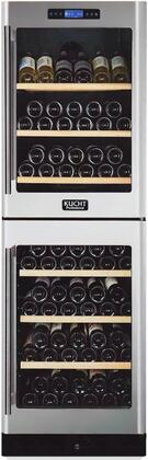 "Kucht K430AVx 24"" Wine Cooler with Touch-Key Control Panel, Wooden Shelves, Fan Cooling System, Safety Lock and LED Lighting, in Stainless Steel"