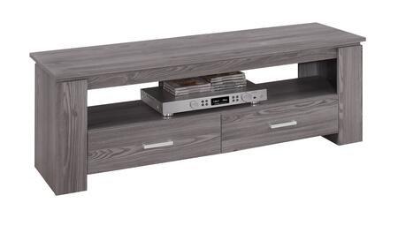 "Monarch I260X1 47"" TV Stand with Open Shelf, Silver Handles and 2 Gliding Drawers in"