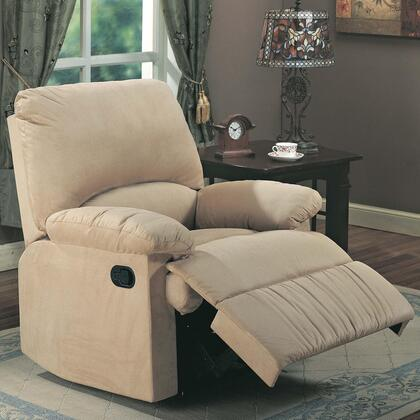 "Coaster 35"" Recliner with Reclining Mechanism, External Handle, Pillow Top Arms, Broad Pillow Back, Cradle Legs and Microfiber Upholstery  in"