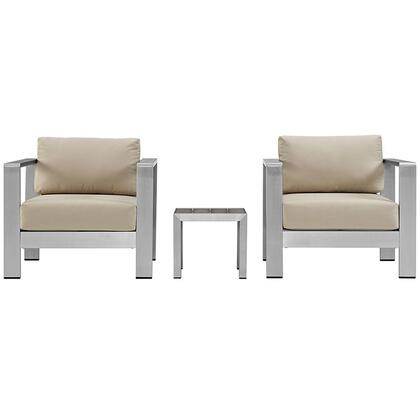 Modway EEI2599SLVBEI Modern Square Shape Patio Sets