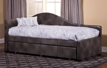 Hillsdale Furniture 1274D Winterberry Daybed with Pine Wood Construction, Block Feet and Faux Leather Upholstery in Weathered Grey Color