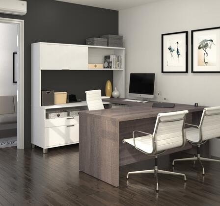 Bestar Furniture 120880 Pro-Linea U-Desk with hutch