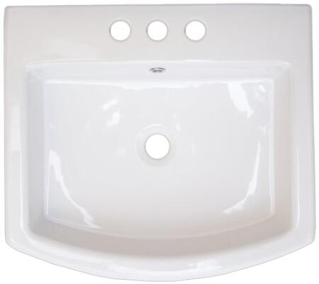 "IMG Imports IMG-39 20"" Countertop Rectangular Ceramic Vessel Vanity Sink With a Single Hole: White"