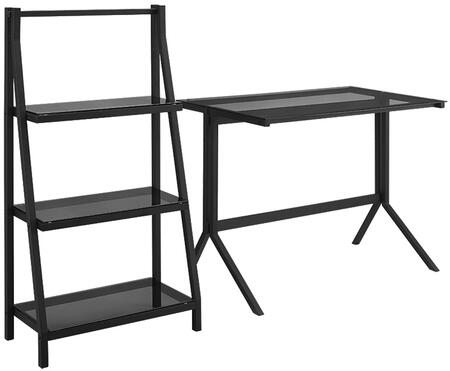Walker Edison DS48CMBXX Home Office Glass Metal Desk and Shelf Combo with Polished and Beveled, Tempered Safety Glass, Steel Frame and Powder-Coated Finish in