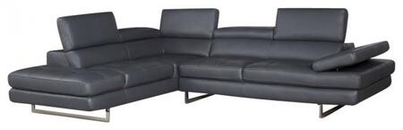 a761 italian leather sectional, left arm chaise, slate gray 11