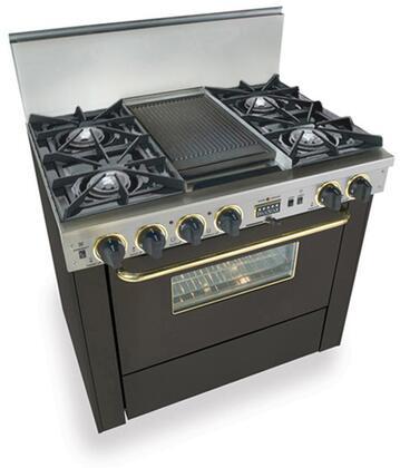 "FiveStar TTN3257SW 36""  Black with Brass Handle Dual Fuel Freestanding Range with Open Burner Cooktop, 3.69 cu. ft. Primary Oven Capacity,"