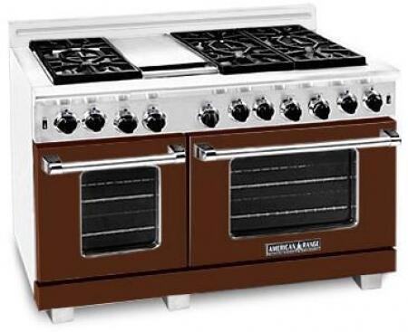 American Range ARR486GDLHB Heritage Classic Series Dual Fuel Freestanding Range with Sealed Burner Cooktop, 4.8 cu. ft. Primary Oven Capacity, in Brown
