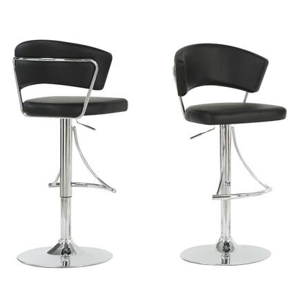 Monarch I 23 Adjustable Bar Stool, with Back, Hydraulic Lift System, and Chrome Finished Metal Frame, in Faux Leather