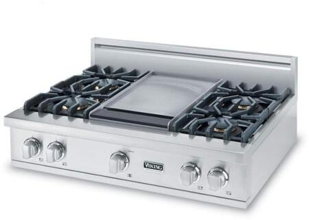 """Viking VGRT5364BS 36"""" Professional 5 Series Gas Rangetop with 4 Sealed Burners and Griddle, VariSimmer Setting and Porcelainized Cooking Surface, in Stainless Steel"""