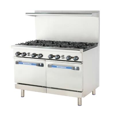 """Turbo Air TAAR 48"""" Range with 8 Open Burners, Heavy Gauge Welded Frame, Stainless Steel Construction, 2 Standard Ovens, Full Size Crumb Tray and Adjustable Oven Thermostat:"""