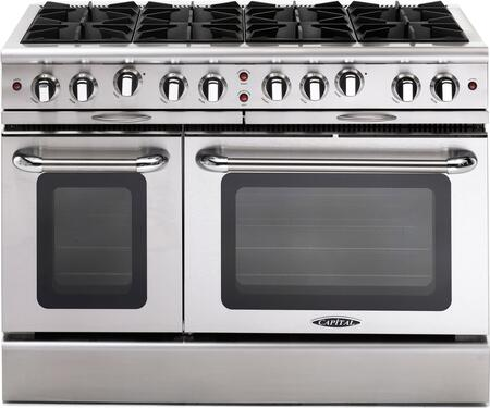 "Capital MCOR488N 48"" Culinarian Series Gas Freestanding Range with Open Burner Cooktop, 4.9 cu. ft. Primary Oven Capacity, in Stainless Steel"