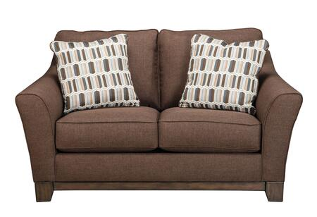 """Milo Italia Trystan MI-8349ATMP 64"""" Fabric Loveseat with 2 Toss Pillows with Patterned Cover, Boxed Seat and Back Cushions and Exposed Front Rail in"""