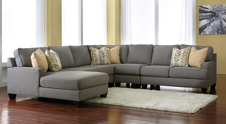 Milo Italia Peyton MI-9452ATMP 5PC Sectional Sofa with X Arm Corner Chaise + Armless Loveseat + Wedge + Armless Chair + X Arm Loveseat and Pillows Included in Alloy