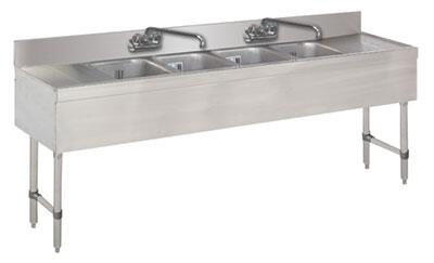 """Advance Tabco 74C-X Lite Series Four-Compartment Underbar Sink with 4"""" Backsplash, Drainboards and Faucet in Stainless Steel"""
