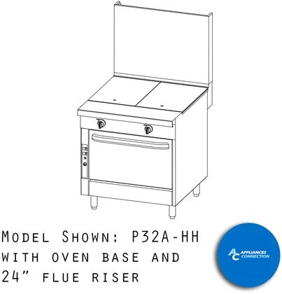 """Southbend P32HH Platinum Series 32"""" Uniform Hot Top with Four Standard Burners and Electronic Pilot Ignition, Up to 80000 BTUs (NG)/72000 BTUs (LP)"""
