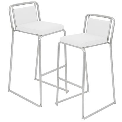 "LumiSource Cascade BS-CASC Set of (2) 37"" Stackable Barstool with Leatherette Upholstery, Stainless Steel Base and Footrest in"