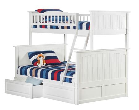 Atlantic Furniture AB5922 Nantucket Bunk Bed Twin Over Full With Raised Panel Bed Drawers