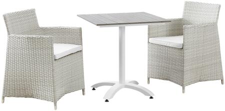 Modway Junction Collection EEI-1758- 3-Piece Outdoor Patio Dining Set with Dining Table and Two Armchairs in