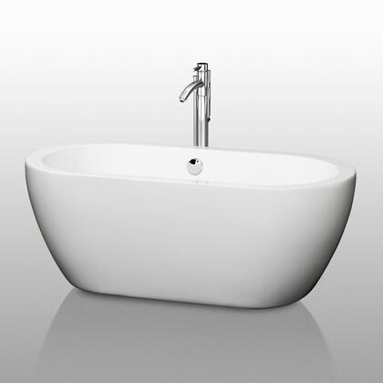 Wyndham Collection WCO-BT1002-6 Soho Soaking Bathtub, with Acrylic Construction, Cable-driven Pop-up Drain, Adjustable Base, and Overflow, in White