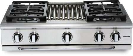 """Capital Precision Series GRT364B-X 36"""" Pro-Style X Range Top with 4 Power-Flo Burners, 18,000 BTU Hybrid Radiant BBQ Grill, and Auto-Ignition/Re-Ignition, in Stainless Steel"""