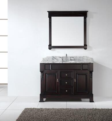 "Virtu USA GS-4048 Virtu USA 48"" Huntshire Single Sink Bathroom Vanity in Dark Walnut with Italian Carrara White Marble"