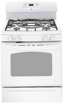 """GE JGB3000ERWW 30"""" Gas Freestanding Range with Sealed Burner Cooktop, 5.0 cu. ft. Primary Oven Capacity, Storage in White"""