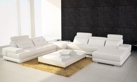 VIG Furniture VGEV5005HLWHT Divani Casa Phantom Series Stationary Leather Sofa
