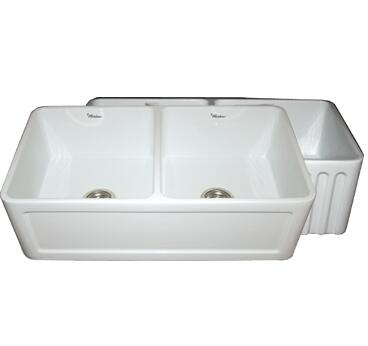 "Whitehaus WHFLCON3018 33"" Double Bowl Fluted / Concave Reversible Fireclay Farmhouse Kitchen Sink in"