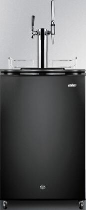 """Summit SBC570Cx 22"""" Cold Beverage Dispenser with 6.4 cu. ft. Capacity, Factory Installed Lock, Reversible Door, Guard Rail, Casters, in Black"""