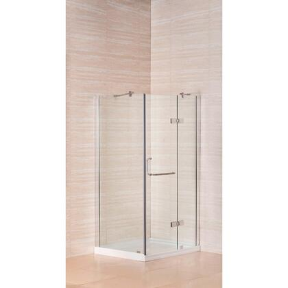 "Aston Global SD974-8-X 40"" x 32"" Frameless Shower Enclosure with Shower Base in Chrome Finish - X Hand Drain"