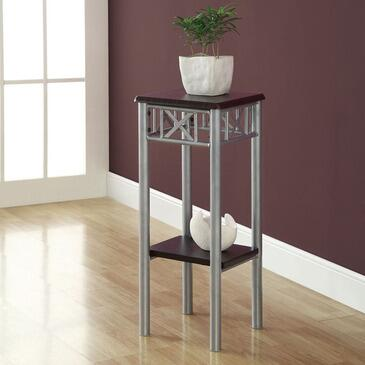 Monarch I 304 Plant Stand, with Square Top, Silver Metal Base, and Contemporary Design