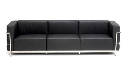 Fine Mod Imports FMI2204BLACK Grand Series Stationary Leather Sofa