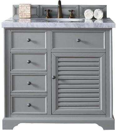 "James Martin Savannah Collection 238-104-V36-UGR- 36"" Urban Gray Single Vanity with Single Soft Closing Door, Two Soft Closing Drawers, Antique Pewter Hardware and"